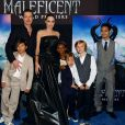 A atriz estrelou o filme 'Malévola' no ano passado e levou os filhos para conferirem a première