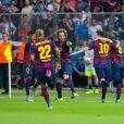 Neymar e Messi comemoram um dos gols do Barcelona, campeão da Liga dos Campeões pela quinta vez