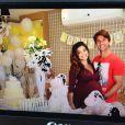 Nos bastidores do chá de bebê, Juliana Paes posou para fotos ao lado do marido, o empresário Carlos Eduardo Baptista