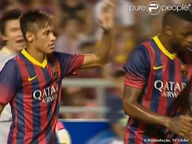 Neymar marcou seu primeiro gol com a camisa do Barcelona contra a Tailândia, nesta quarta, 07 de agosto de 2013