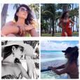 'Que difícil escolher fotos para postar', comentou a cantora, que optou por montagem