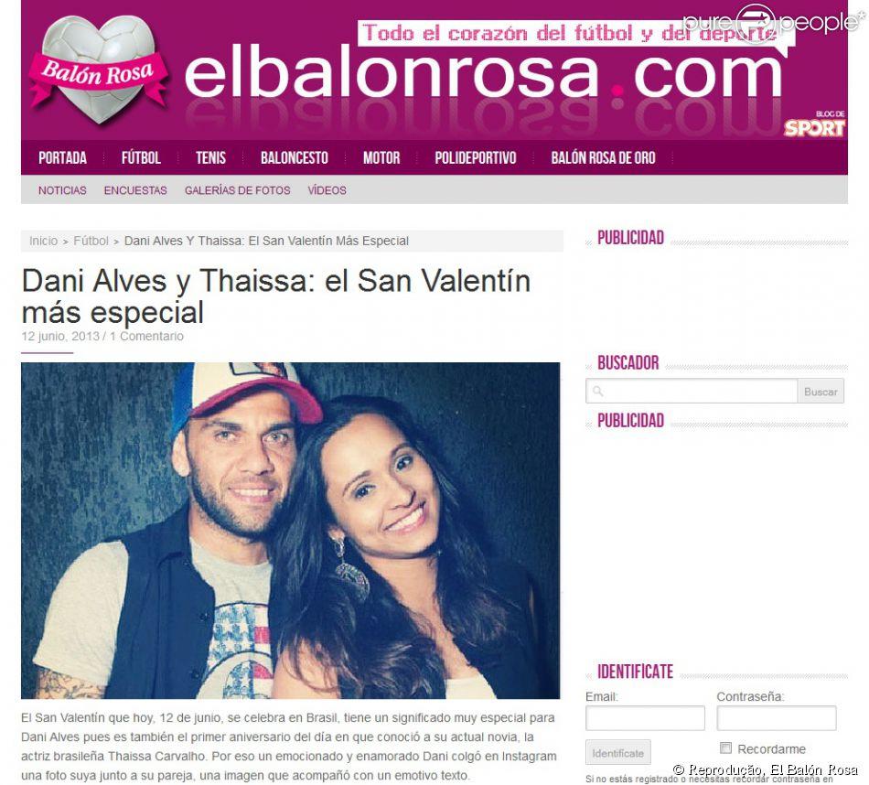 A mensagem de Dia dos Namorados entre Daniel Alves e Thaissa Carvalho também foi notícia na Espanha
