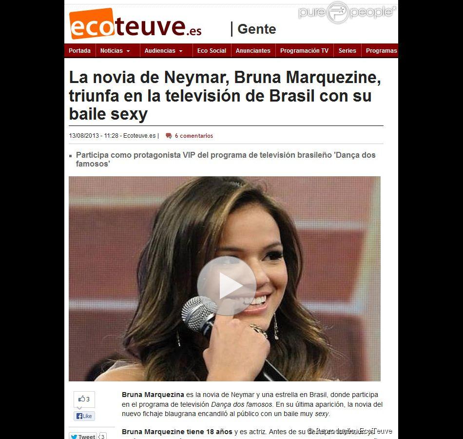O 'EcoTeuve' noticiou o triunfo de Marquezine no 'Dança dos Famosos'
