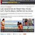 Thaissa Carvalho na praia durante as férias de Daniel Alves foi destaque na imprensa espanhola