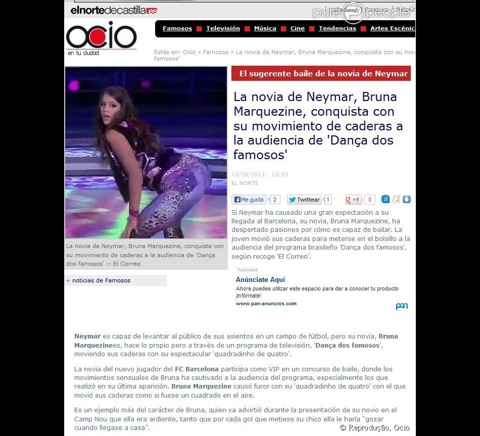 Com foto de Bruna Marquezine com o bumbum para o alto, o 'Ocio' afirmou que a atriz conquistou a audiência com seus movimentos de quadril