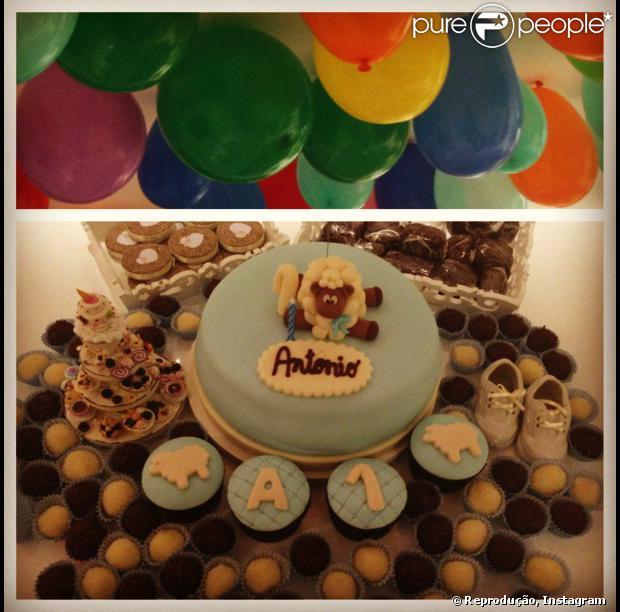 Juliana Paes está comemorando o primeiro mês de nascido do filho caçula, Antônio, nesta quarta-feira, em 21 de agosto de 2013