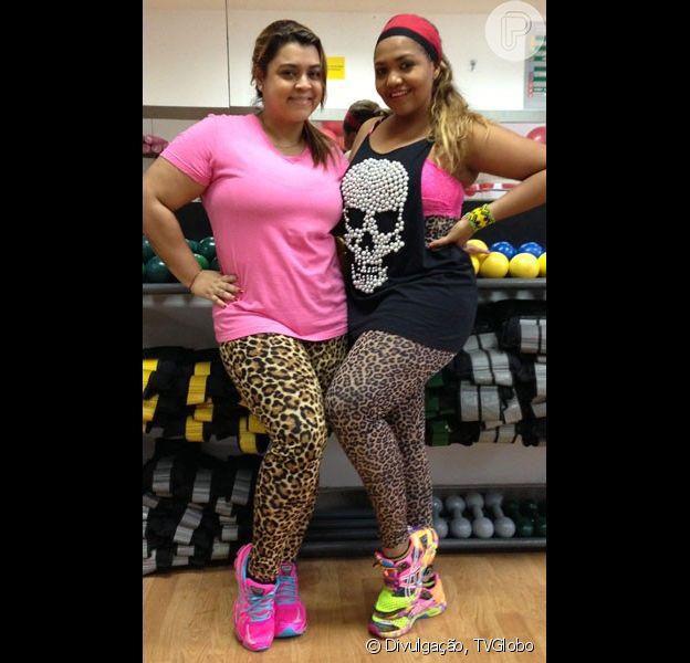 As integrantes do quadro 'Medida Certa', do 'Fantástico', Preta Gil e Gaby Amarantos, exibiram looks parecidos com calça de oncinha para malhar