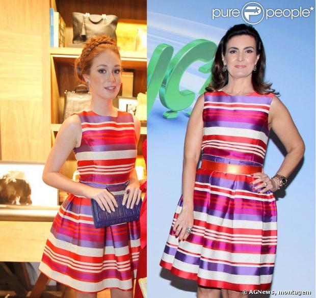 Marina Ruy Barbosa e Fátima Bernardes usam o mesmo vestido da grife Carolina Herrera, apenas com dois dias de diferença, em 31 de agosto de 2013