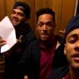 Além de Neymar e Daniel Alves, o brasileiro Adriano também cantou e dançou 'Tá Tranquilo, Tá Favorável'