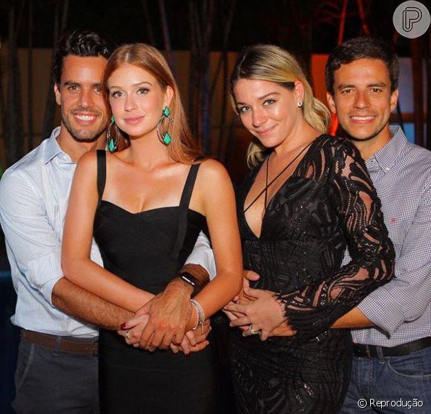 Marina Ruy Barbosa posa com o namorado e a amiga Luma Costa em noivado de blogueira na noite de sábado, 27 de fevereiro de 2016