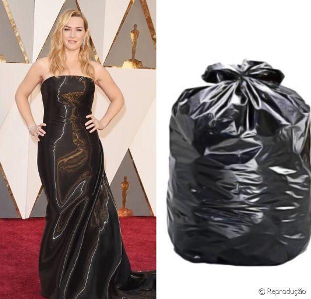 Kate Winslet não levou o Oscar 2016 de Melhor Atriz Coadjuvante por seu papel em 'Steve Jobs', mas ganhou algumas montagens pela escolha de seu look Ralph Lauren, comparado a um saco de lixo
