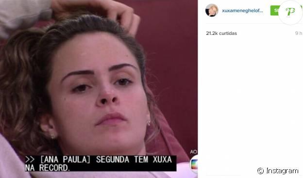 Xuxa compartilhou momento no qual Ana Paula, do 'BBB16', citou seu programa na TV Record