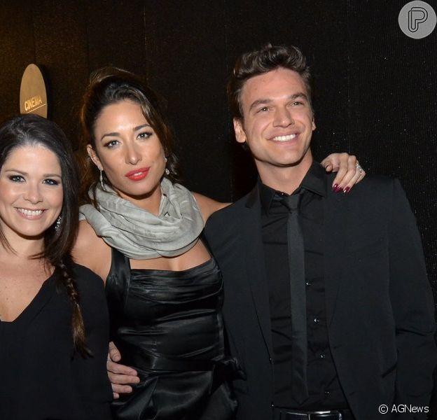 Giselle Itié e Emílio Dantas foram juntos ao Festival do Rio nesta quinta-feira, 26 de setembro de 2013, acompanhados da amiga Samara Felippo