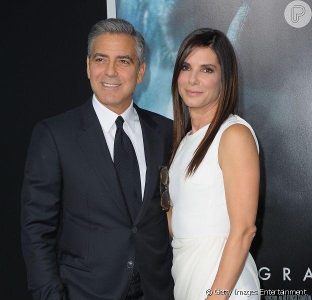 Sandra Bullock e George Clooney divulgam o filme 'Gravity' em Nova York, nos Estados Unidos, em 1 de outubro de 2013
