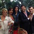Ana Maria Braga se divertiu na festa de noivado de Bruno Astuto e Sandro Barros