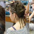 Na parte de trás, para garantir o volume do penteado, foram colocados apliques de dreads, que já vem com prendedores