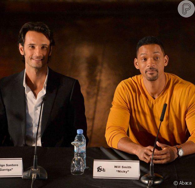 Will Smith e Rodrigo Santoro divulgaram o filme 'Focus' na Argentina nesta quarta-feira (20 de novembro de 2013)