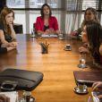 Leila (Fernanda Machado) tem um ataque de fúria ao ouvir Thales (Ricardo Tozzi) dizer que vai passar sua herança para Natasha (Sophia Abrahão), em 'Amor à Vida'