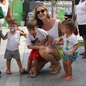 Luana Piovani e Thiago Lacerda brincam com os filhos em evento infantil no Rio