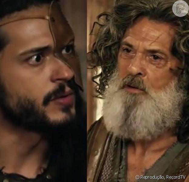 Tobias (Raphael Vianna) é expulso de casa após admitir ter armado falsa traição do pai, Quemuel (Raymundo de Souza), na reta final da novela 'A Terra Prometida'