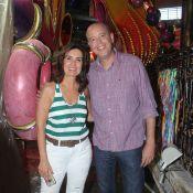 Fátima Bernardes, às vésperas do Carnaval, visita barracão da Grande Rio. Fotos!