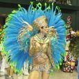Luciana Gimenez desfilou pela Grande Rio com fantasia de deusa do Egito