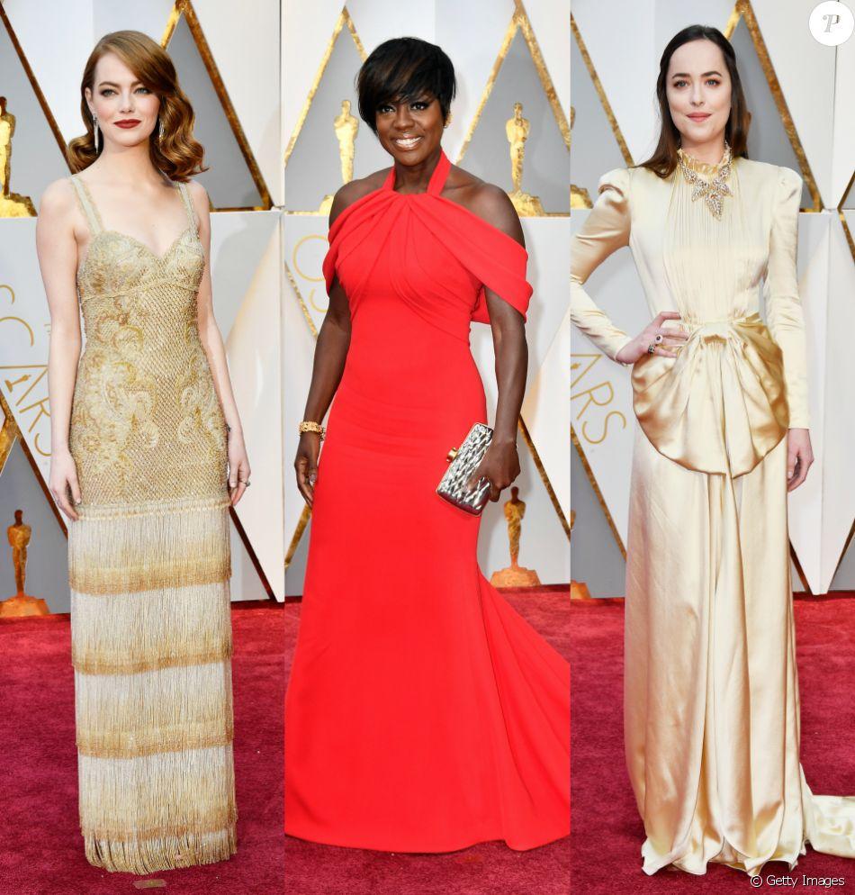 Emma Stone, Viola Davis e Dakota Johnson brilharam no tapete vermelho do Oscar 2017, que trouxe vestidos em tons claros, dourado e o clássico vermelho. Veja os looks!