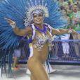 Musa da União da Ilha, Dani Sperle desfilou com um tapa-sexo de 3,75cm, em 27 de fevereiro de 2017