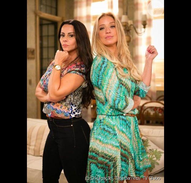 Edith (Viviane Araújo) e Glenda (Helga Nemeczyk) se enfrentam em um duelo de samba, na novela 'Rock Story', em março de 2017