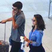 Grávida, Yanna Lavigne deixa barriga em evidência em aeroporto com Bruno Gissoni