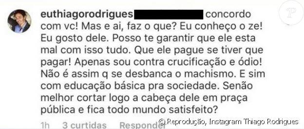 Thiago Rodrigues defendeu José Mayer após a acusação de assédio sexual