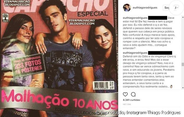 Thiago Rodrigues se defendeu após ser criticado por apoiar José Mayer