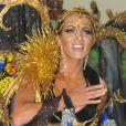 Carla Prata brilhou como rainha de bateria da Acadêmicos da Rocinha, terceira escola a desfilar na Marquês de Sapucaí, no Rio de Janeiro, na noite de sexta-feira, 28 de fevereiro de 2014