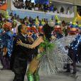 Christiane Torloni desfilou como a rainha de bateria da Grande Rio