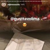 Grávida, Andressa Suita ganha chocolates de Gusttavo Lima: 'É muito meu marido'