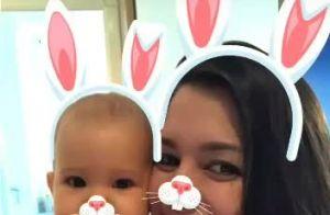 Grávida, Thais Fersoza filma filha, Melinda, com orelhinha de coelho: 'Páscoa'