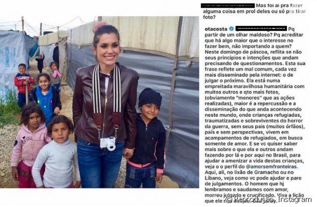 Otaviano Costa defende a mulher, Flávia Alessandra, de crítica de fã por foto com crianças no Líbano