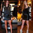 Bruna Marquezine repetiu jaqueta de Marina Ruy Barbosa em evento de moda, em março de 2017