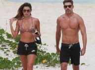 Cauã Reymond e a namorada, Mariana Goldfarb, praticam corrida na praia. Fotos!