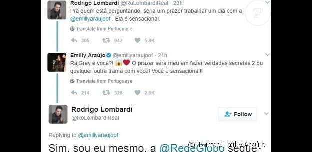 Ex-BBB Emilly acredita em perfil falso do ator Rodrigo Lombardi