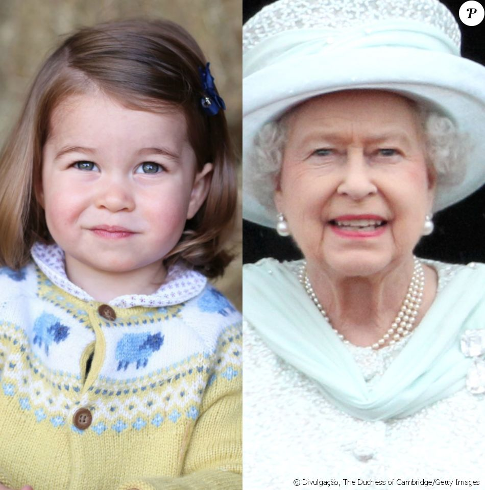Princesa Charlotte chama atenção por semelhança com a bisavó, Rainha Elizabeth II