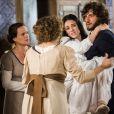 Anna (Isabelle Drummond) dá à luz com ajuda de Joaquim (Chay Suede), na novela 'Novo Mundo'