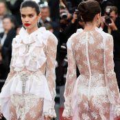 Modelo Sara Sampaio ousa com fio-dental e transparência no festival de Cannes