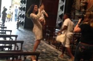 Juliana Paes batiza o filho Antonio, de 8 meses, no Mosteiro de São Bento, no RJ