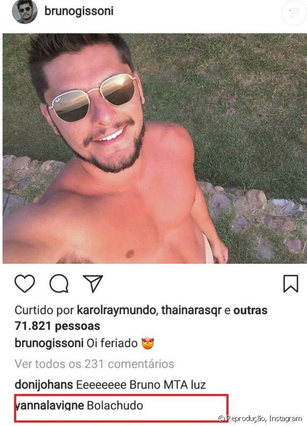 Yanna Lavigne brinca ao comentar na foto de Bruno Gissoni: 'Bolachudo'
