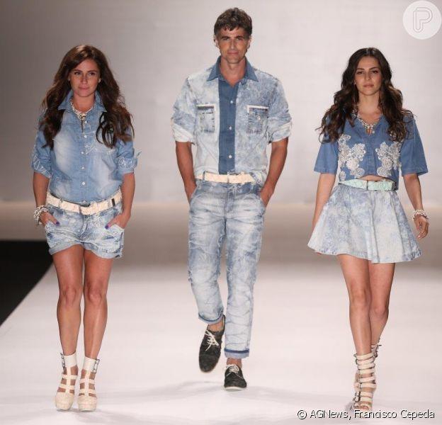 Giovanna Antonelli, Tainá Müller e Reynaldo Gianecchini desfilam juntos na passarela da TNG, no Fashion Rio, em 10 de abril de 2014