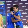 Rodrigo Faro e Daniel Alves se encontram em evento em São Paulo