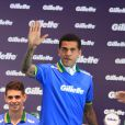 Jogadores da seleção brasileira de futebol se reúnem em lançamento em São Paulo com Rodrigo Faro