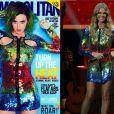 Fernanda Lima usou um vestido Emilio Pucci brilhoso no valor de R$ 24.280. Katy Perry aparece com o mesmo modelito na capa da Cosmopolitan