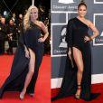 Adriane Galisteu e Jennifer Lopez usam vestido da grife Anthony Vaccarello com fenda poderosa